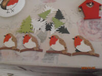 Can Send SET of Trees + 4 x NEW Christmas Robin Crafting Card etc Toppers PLUS lots of Fir Trees