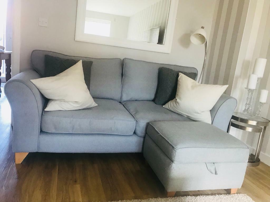 Dfs Pale Blue Grey Sofa With Two Matching Footstools Footstool Tartan Cushions 3 Seater