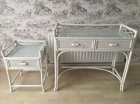 White shabby chic console table and side/ bedside table