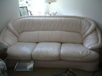 Leather Cream Lounge Suite, comprising 1 x 3 Seater Couch, and 2 Armchairs