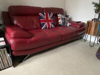 HARVEYS Genoa red Real Leather 3 Seater Sofa Good condition