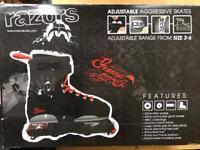 Genesys Adjustable Aggressive Skates for sale (Adjustable range from size 3-6)
