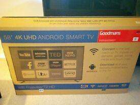 "BRAND NEW Goodmans 58"" Android 4K UHD TV."