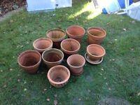 Collection of terracotta garden pots