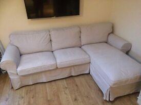 Ikea EKTORP 3 Seater Sofa with Chaise Longue - Beige Covers