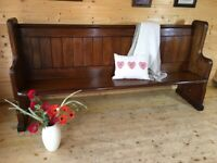 Antique 2m long length solid pine church pew settle monks bench hall seat dining bench