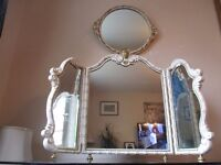 LARGE VINTAGE FRENCH LOUIS 3 WAY DRESSING TABLE MIRROR AND MATCHING WALL MIRROR