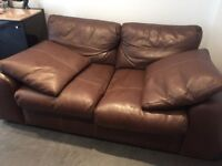 2 x Brown 2 seater Leather Sofa
