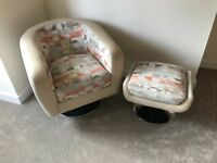 Designer Swivel Chair & Footstool