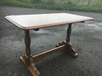 Solid oak former pub/ restaurant dining table oozing character