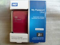 "BNIB new factory sealed WD 2TB my passport ultra 2.5"" usb 3.0(auto cloud & local back up)encryption"