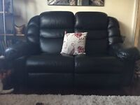 2seater lazy boy black leather recliner sofa