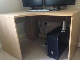 Oak effect corner desk
