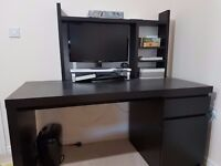 Ikea black computer table/ workstation with Rack