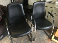 BLACK LEATHER CHAIRS WITH SILVER CHROME LEGS NICE CONDITION