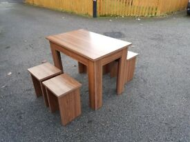 Walnut Veneer Table & 4 Bench Stools FREE DELIVERY 625