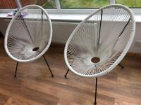 'Love Island' White Woven Chairs