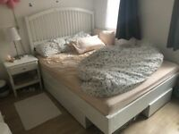 King size mattress, bed frame and duvet and 4 pillows