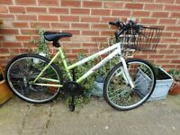 ladies 18 inch frame green and white challenge bike with basket and lock