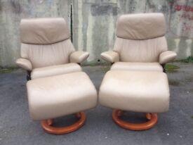 Ekornes Stressless leather reclining armchair / recliner chair
