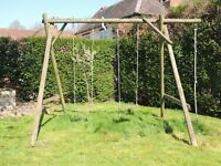 Childrens double wooden swing