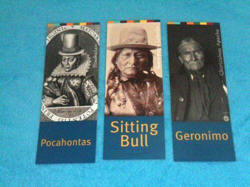 (3) American Indian Large Bookmarks: Pocahontas, Sitting Bull & Geronimo