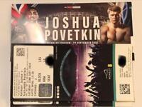 2 or 4 Joshua V Povetkin Lower Tier Tickets Wembley Stadium London 22/9/18
