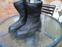 FRANK THOMAS AQUA PORE BLACK LEATHER MOTORCYCLE BIKE BOOTS SIZE 11