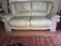 Beige Leather 3 Seater + 2 Seater Sofa Set with Foot Stool