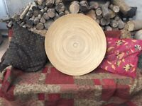 Large 60cm Handmade Bamboo Wooden Dish Bowl Plate