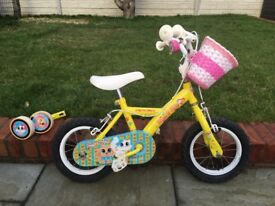 Apollo girls childs first bike, 12 inch wheels, and helmet and stabilisers