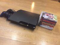 Playstation 3 (PS3) slim with 2 pads & 8 games including singstar karaoke