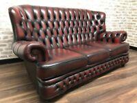 Oxblood Chesterfield Spoon Sofa