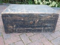 Vintage Wooden Storage Chest for upcycling