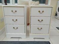 Set Of White Vintage Bedside Drawers