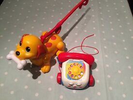 Tomy walking dog and phone