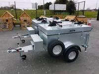 FULLY loaded camping style galvanised car trailer. Bike racks toolbox spare wheel lock