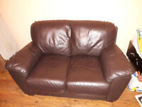 Dark brown leather sofas for sale 3+2