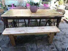 Vintage rustic farmhouse dining table 5 chairs and bench 10 Seater