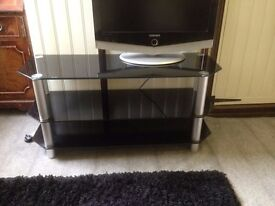 "3-Tier Black Glass TV Stand Shelf Table for 32""-60"" Screen TV"