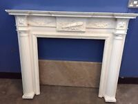 Fireplace Ornate white with Marble hearth (light brown) great condition was £1200