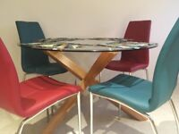 Solid Oak and Glass Dining Table and 6 Chairs