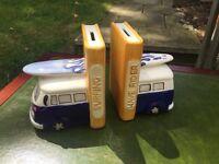 Camper van book ends ceramic great gift