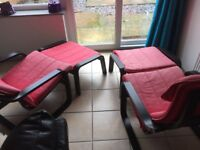 2 x Ikea Poang chairs and footstools red and black