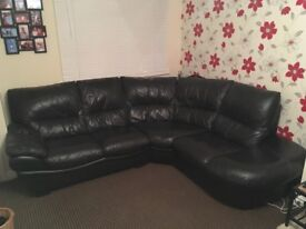 DFS black right hand corner sofa and swivel chair