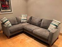 Copenhagen Charcoal Grey LHF Corner Sofa from Furniture Village with dark wood feet