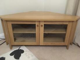 Ikea Oak and Oak Veneer Corner TV Unit Very Good Condition