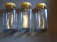 Small vintage glass sweet jars