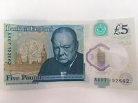 AA07 £5 Note. Lucky number 7