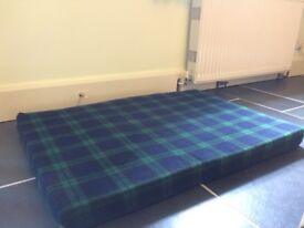 Memory Foam Dog Bed! Used but in good condition, green & blue tartan cover.